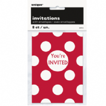 Red Dots Party Invites (8pcs)